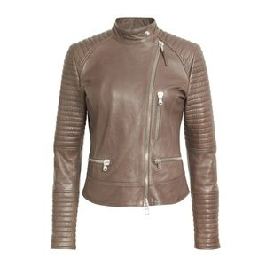 Eleventy Quilted Moto Leather Jacket 50 XXL Brown